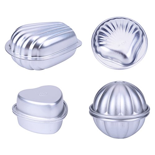 Metal Bath Bomb Mold Cake Mold Scallop Shell Flower Heart Shape for DIY Baking Soap Making 4 Pair (Heart Scallop)