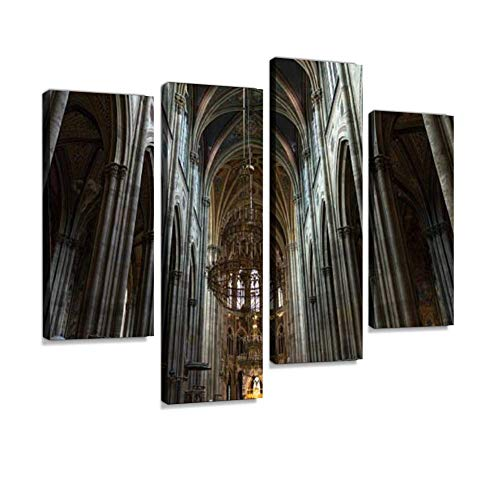 Columns and Arches Inside The Votive Church in Vienna Canvas Wall Art Hanging Paintings Modern Artwork Abstract Picture Prints Home Decoration Gift Unique Designed Framed 4 Panel (Votive Definition)