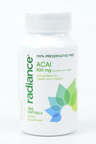 Radiance Platinum 100% Preservative Free ACAI 500 mg Antioxidant for Health and Vitality 100 softgels Dietary Supplement