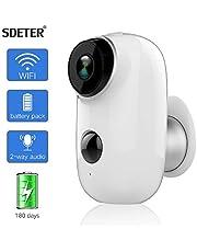 Caméra de sécurité extérieure SDETER, système de Surveillance alimenté par Batterie Rechargeable sans Fil 1080P, Moniteur de vidéo Surveillance CCTV WiFi IP