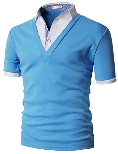 H2H Mens V Neck Layered Style Shorts-Sleeved T-Shirts Pull Over SkyBlue US M/Asia XL (KMTTS0571)