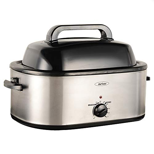 Electric Roaster Oven with Self-Basting Lid, 20 Quart, Removable Insert Pot, Full-range Temperature Control and Cool-Touch Handles, Silver Body and Black Lid, Roaster Oven Turkey