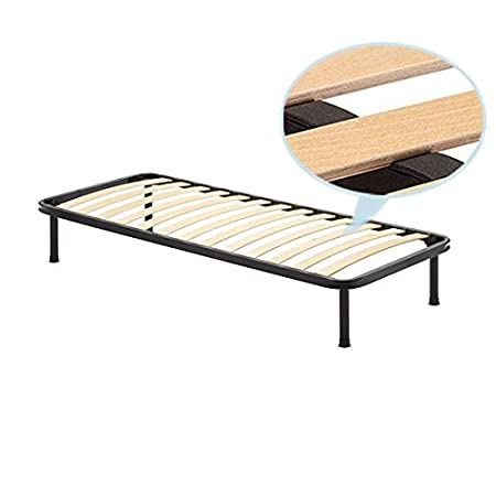 Rete a doghe singola 110x190 cm struttura in ferro con doghe in legno ortopedica piedi 25 cm smontabili inclusi Europrimo