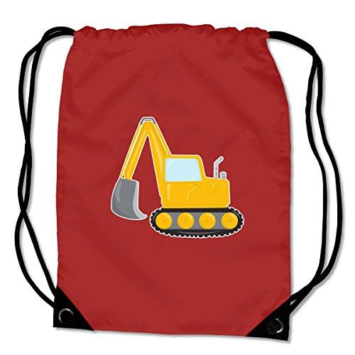 plot4u Turnbeutel Cooler Bagger Sportbeutel für Schule Sport Sporttasche Bag Base® BG10 Gymsac 45x34cm rot/farbiger Aufdruck Fuchsia/Farbiger Aufdruck
