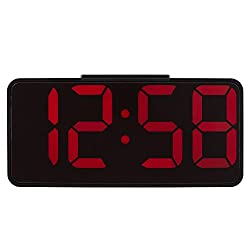 HITO 8.7 Digital LED Alarm Clock Large Display for Elderly Vision Impaired, Adjustable Volume USB Charging Port Adapter Included USB Charging Station for iPhone, Smartphone, MP3, for Bedroom, Bedside