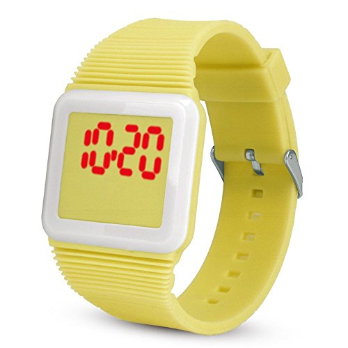 POTO Unisex Silicone LED Wristwatch Sports Bracelet Electronic Digital Wrist Watch for Children Kids Watch Gift (Yellow)