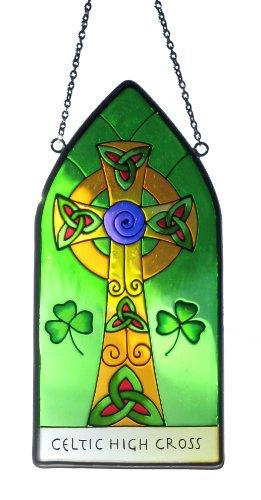 Irish Suncatcher - gothic high cross in stained glass window hanging.. Irish gift shipped from Ireland.