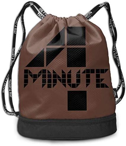 メンズ レディース 兼用4minute Logo (3) ナップサック アウトドア ジムサック 防水仕様 バッグ 巾着袋 スポーツ 収納バッグ 軽量 バッグ 登山 自転車 通学・通勤・運動 ・旅行に最適 アウトドア 収納バッグ