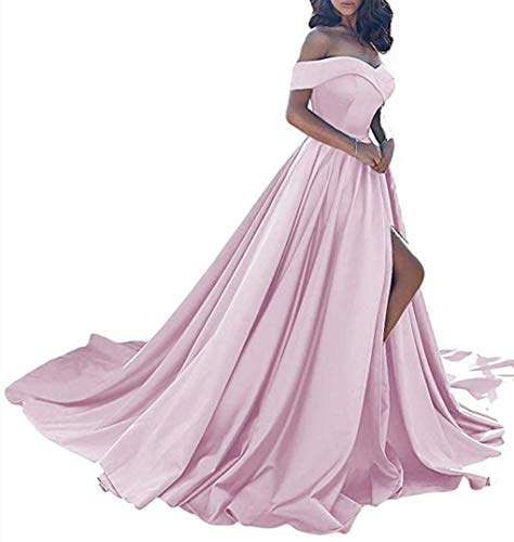 Homdor Split Off Shoulder Prom Evening Dress for Women A-Line Satin Formal Gown Pink Size 12