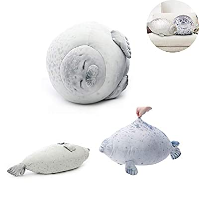 N-A Blob Seal Pillow, Wen Rainy Stuffed Cotton Plush Animal Toy Cute Ocean Pillow Pets - Gift for Kids and Couples (White, M): Home & Kitchen