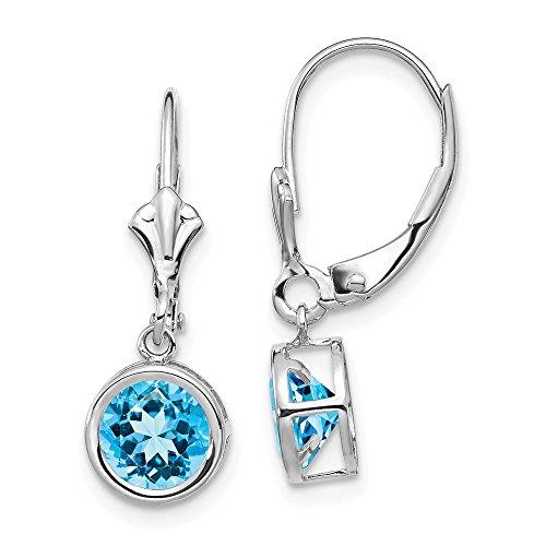 - 14k White Gold 6mm Blue Topaz Leverback Earrings Lever Back Drop Dangle Gemstone Bezel Fine Jewelry Gifts For Women For Her