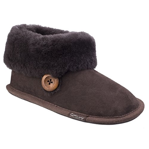 Cotswold Womens/Ladies Wotton Sheepskin Soft Leather Booties (9 US) (Chocolate) by Cotswold