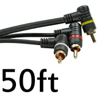 Right to Right Angle 3 RCA Cable 50 ft foot Triple RCA AUDIO VIDEO