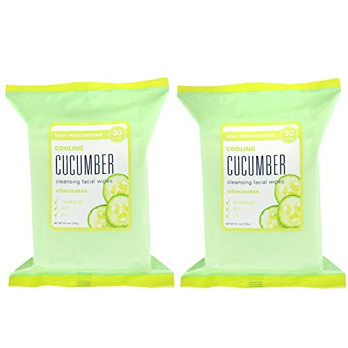 Body Prescriptions Face Wipes & Makeup Remover Wipes - 4 Pack (30 Count Each) of Gentle Facial Towelettes - (Cooling Cucumber) ()