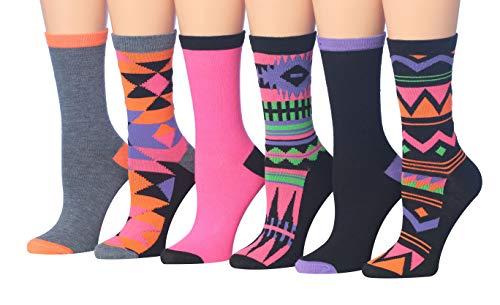 Tipi Toe Women's 6-Pairs Colorful Funky Patterned Crew Dress Socks (CR102-6Pk)