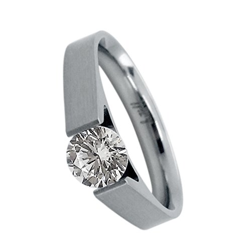 B.Tiff BTiff Signity Star Brighter than Diamond .75Ct Round Tension Set Solitaire Ring Sizes 4-10 (Stainless Steel, - Diamond Tension Ring Solitaire