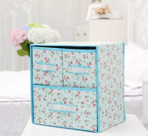 Happy Deocation - Caja de Almacenamiento Impermeable con Tres cajones para cosméticos (Azul)