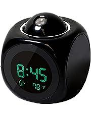 Multifunction Alarm Clock Digital LCD Display Voice Talking LED Projection Temperature Decor- black