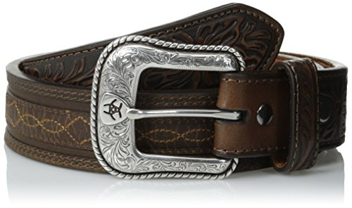Distressed Embossed Belt (Ariat Men's Stitch Design Overlay, Brown,)