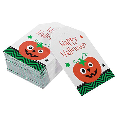 BESTOYARD Happy Hanging Tags Rectangle Pumpkin Message Cards with Hole -