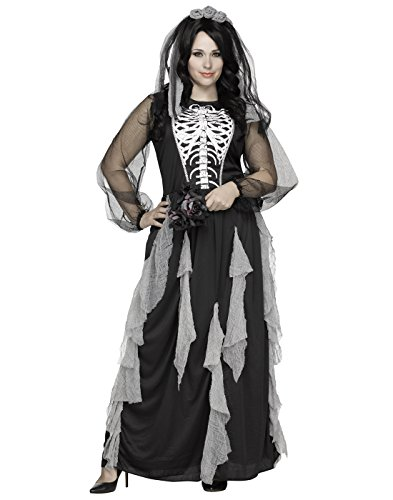Fun World Women's Plus Size Skeleton Bride Costume, Multi, XX-Large -