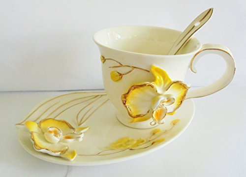 Handcrafted Porcelain Yellow and Gold Trim Flower Design Tea/Coffee Set, with Spoon (Saucer Yellow Flowers)