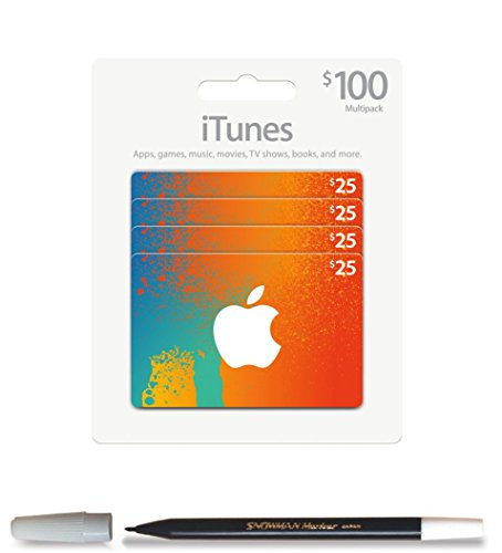 BUNDLE: iTunes $100 Multipack (4 x $25) Prepaid Gift Card AND Snowman Pencil Marker by Gadget UPgrade