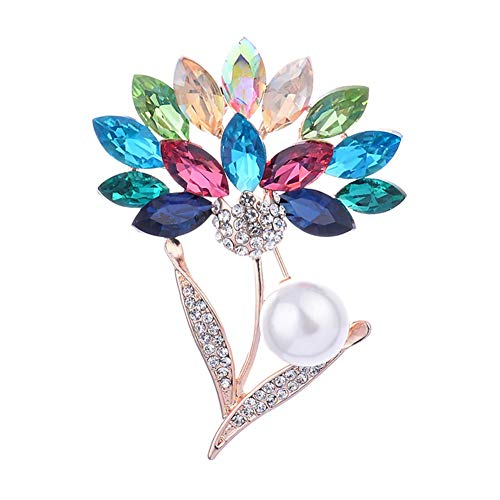 (Diamond-Bordered Christmas Brooch Colored Crystal Rhinestone Brooches Pin Badge Brooches Pin Safety Accessories Jewelry Birthday Wedding Thanksgiving Party Gifts for Women Teen Girls (Daisy))