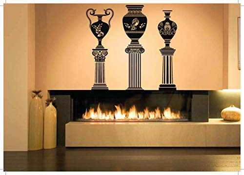 (Vinyl Sticker Urn On Columns Greek Vase Jar Jug Amphora Vine Emblem Ornament Architecture Mural Decal Wall Art Decor SA2271)