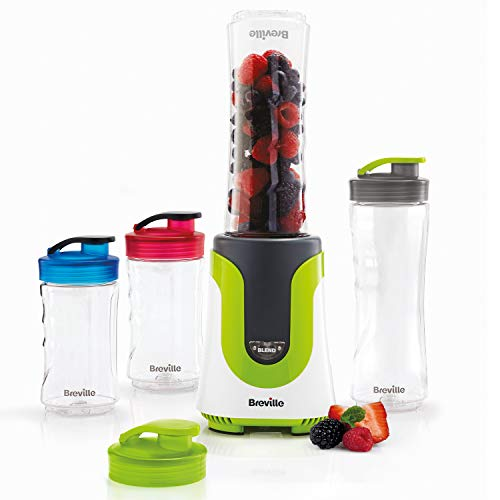 Breville Blend Active Personal Blender & Smoothie Maker | ColourMix Family | 4 x Portable Blending Bottles (600 ml | 300 ml) | 300 W [VBL240]