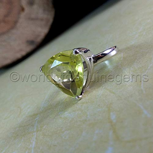 (lemon quartz ring, 925 sterling silver, three prong ring, triangle shape, lemon quartz women ring, statement ring, women engagement ring, lemon quartz birthday gift ring)
