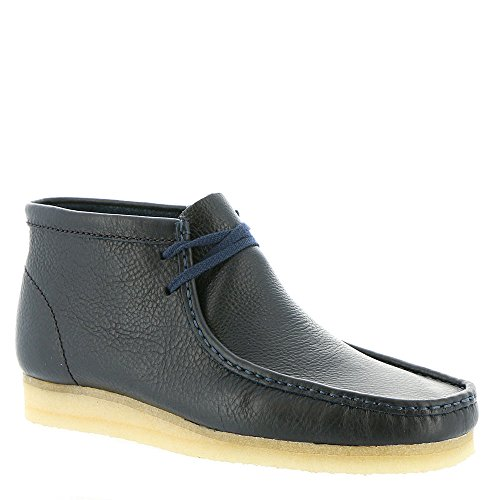 CLARKS Men's Wallabee Boot Navy Tumbled Leather (Navy Tumbled Leather)