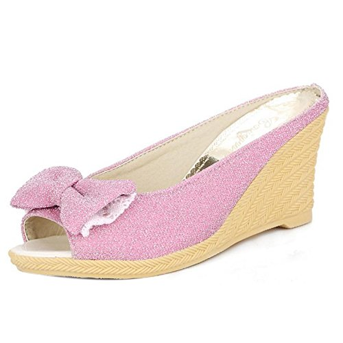 RAZAMAZA Mujer Moda Peep Toe Sandalias y Chanclas Tacon De Cuna Tacon Alto Zapatos De Bowknot Rosa Roja