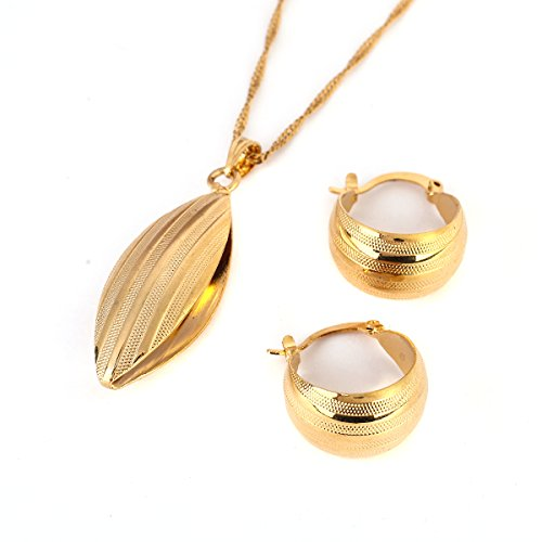 - Ethiopian Set Necklace Pendant Earring Set Joias Ouro 22k Gold Plated Jewelry African Bridal Wedding