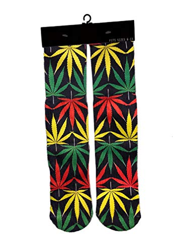 Weed/Marijuana - 3D Graphic Design Rasta Crew/Mid Calf Socks (Rasta Weed Socks)