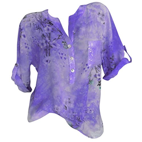 Nevera Tops for Women Printed V Neck Cuffed Sleeve Loose Button Tunics Tops Plus Size for Ladies Purple ()