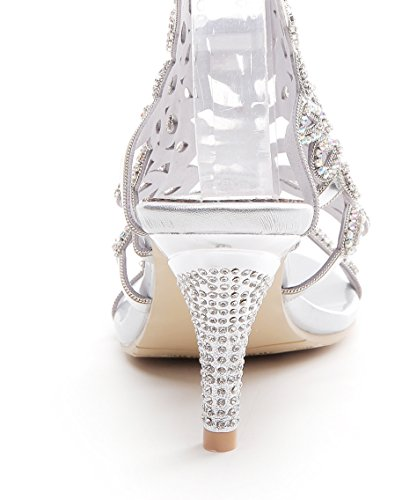 Honeystore Women's Peacock Shaped Pattern Handmade Rhinestone Sandals Silver shop offer cheap price buy cheap browse FOXvE
