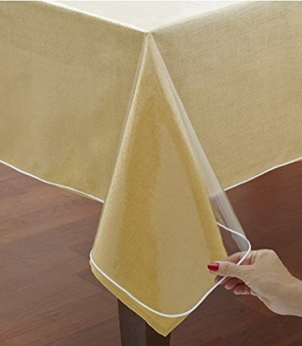 Home Bargains Plus Hotel Quality Crystal Clear Vinyl Tablecloth Protector, 6 Gauge Heavy Duty Thick Vinyl Super Clear Tablecloth Cover, 70 Inch Round ()