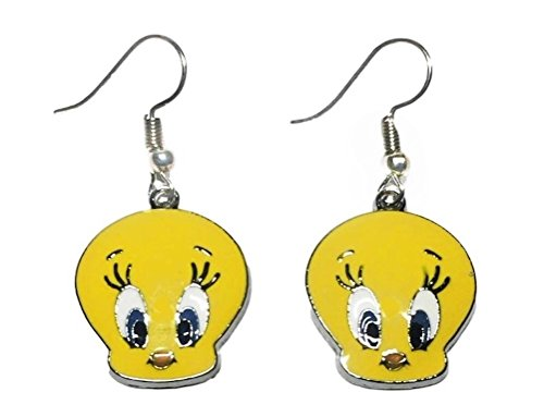 Looney Tunes Tweety Bird Yellow Enamel Metal French Wire Earrings