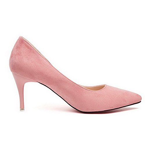 Aalardom Kvinners Pigger-stil Faste Spisse Tå Imiterte Semskede Pumpe-sko Rosa-stoff Overflate