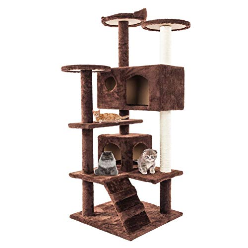 dalilylime Cat Tree Apartment Play House with Sisal-Covered Scratcher Scratching Posts Plush Perches & Condo Activity Center Cat Tower Furniture Play House Playground for Cats Pets (Shipping from US)