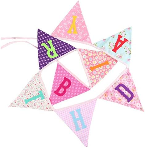 Geburtstag Hochzeit Bunte Stoffgirlande mit Wimpeln f/ür Party Jahrestag Baby-Party