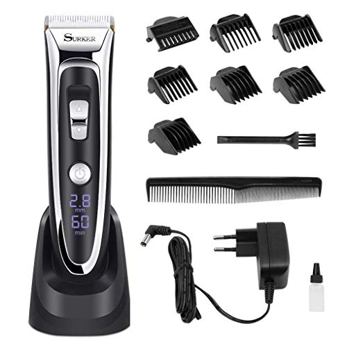 Professional Hair Clippers Set for Men, Facial and Mustache Trimmers, Cordless Electric Haircut Kit with Gear Adjustment, Security Lock and LED Display by Aiskki