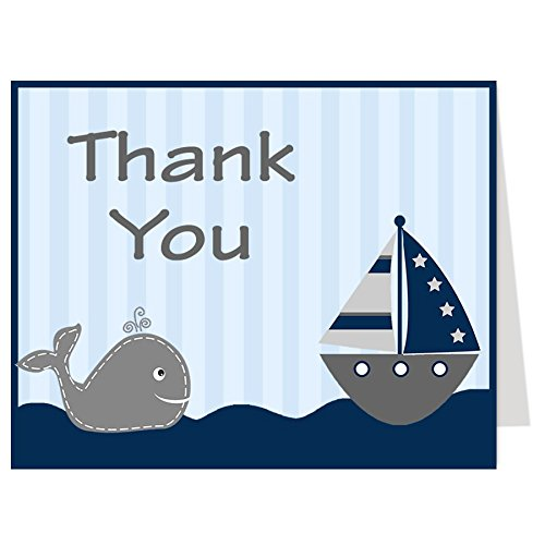 (Nautical Thank You Cards, Baby Shower, Stripes, Boys, Navy, Blue, Red, Sprinkle, Birthday, Whale, Ship, Sailboat, 50 Printed Folding Notes with White Envelopes, Ahoy It's a Boy (Red)