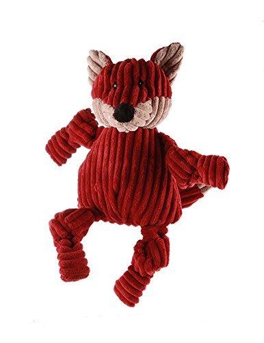 HuggleHounds Plush Corduroy Durable Knotties Fox Dog Toy, Maroon/Tan, Large by HuggleHounds