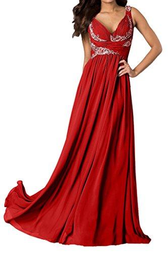 Abendkleider Ballkleid Traeger A Ausschnitt Damen V Ivydressing Linie Festkleider Rot wY8fqTxn