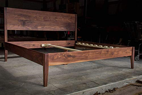 GOLDILOCKS WALNUT BED | Mid Century Modern | Solid Walnut Platform Bed Frame with Straight Headboard & Skinny Tapered Legs