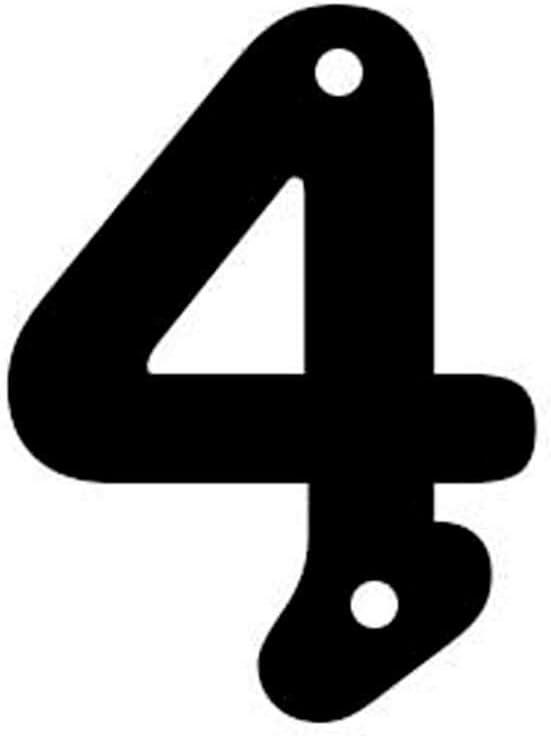 Numero 4 en Chapa para casa Exterior en Negro Satinado Arthifor 100 mm de Alto x 3 mm de Grosor
