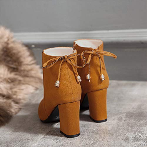 Altos Cortas Orange Grueso color Eu Tacones Botines Size Zapatos Puntiaguda Cuña 46 Para De Con Cuero Botas Plataforma Lateral Cremallera Mujer 8qpvTxqw7
