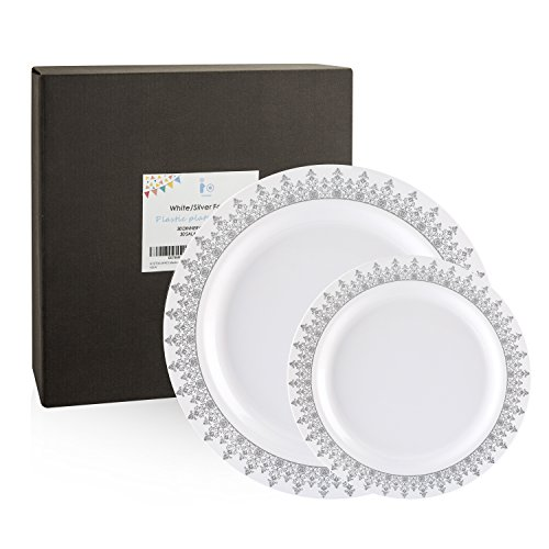 60 Count Disposable Plastic Plates, Silver Trim Plates, 30 Dinner Plates 10.25 Inch and 30 Salad / Dessert Plates 7.5 Inch, Forest Rim, White Party Plates ( IOOOOO) (Piece Trim Plastic)